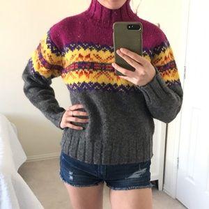 100% wool chunky fair isle turtleneck sweater med